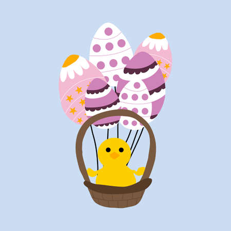 vector illustration witheaster basket and easter baloon eggs