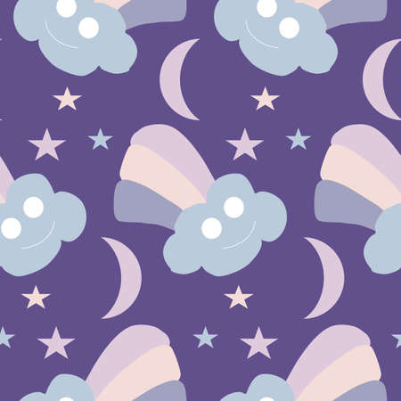 colorful rainbows, stars and moon, seamless pattern