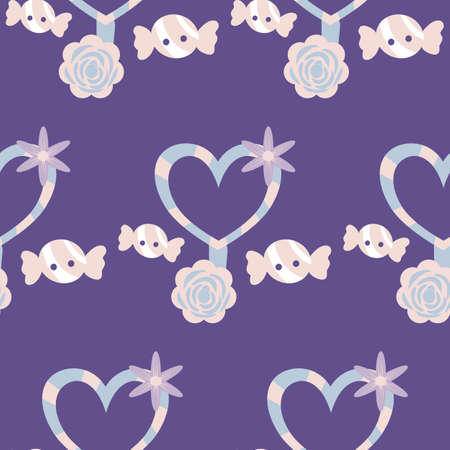 heart lollypop and candies, seamless pattern design