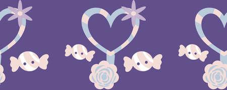 horizontal border with heart lollypop and candies Illusztráció