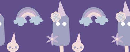 horizontal border with purple ice cream and rainbows
