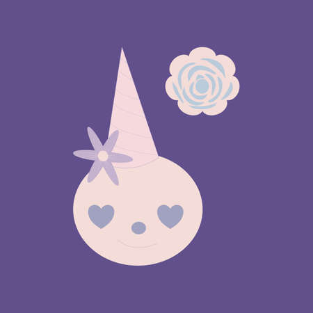 vector illustration with cute sweet and pink rose