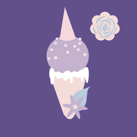 vector illustration with purple unicorn ice cream and flowers