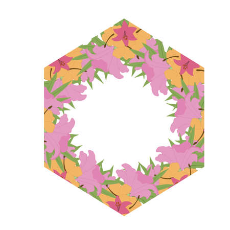 colorful vector tropical polygonal frame for wedding invitations Ilustrace