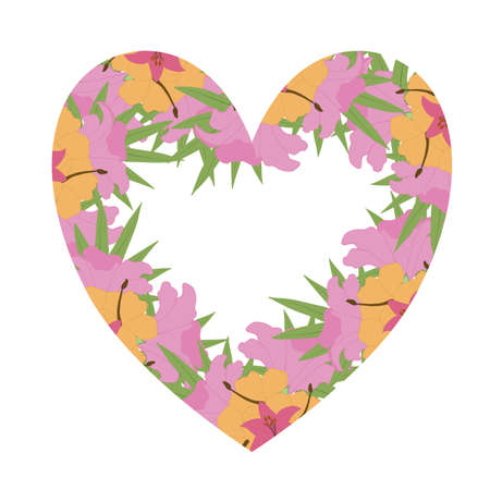 pink and yellow vector tropical heart shape frame for wedding invitations