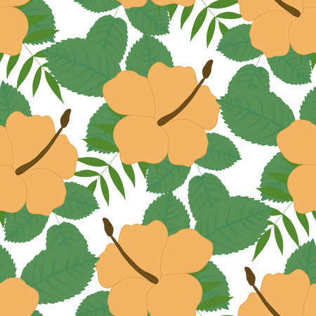 yellow tropical vector flowers in a seamless pattern design