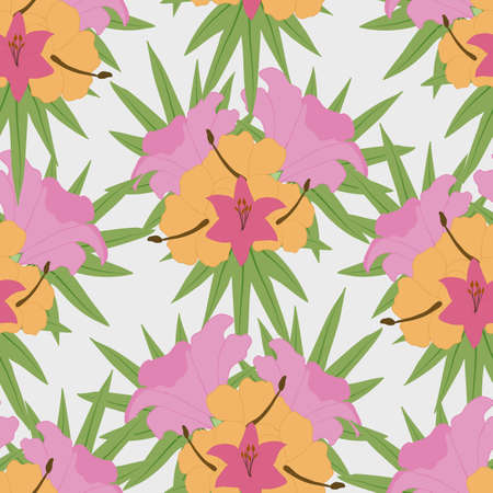 colorful tropical vector flowers in a seamless pattern design Ilustrace