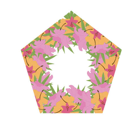 pink and yellow vector tropical polygonal frame for wedding invitations