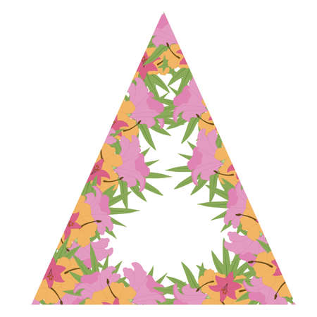 Colorful vector tropical flower triangle frame for wedding invitations Ilustrace