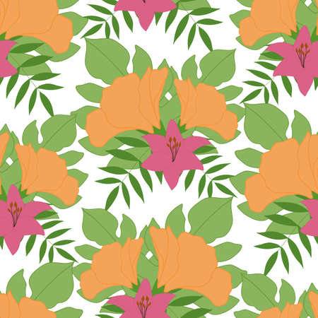 pink and yellow tropical vector flowers in a seamless pattern design Ilustrace