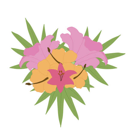 pink and yellow vector tropical flower bouquet Ilustrace