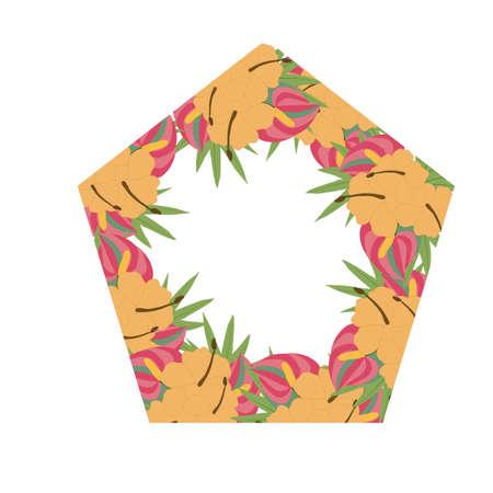 beautiful wedding frame with pink and orange flowers Ilustrace
