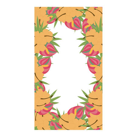 rectangular wedding frame with tropical orange and pink flowers