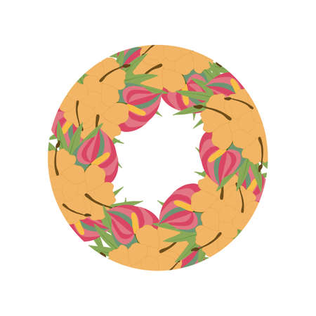 Round tropical wedding invitation with orange flowers