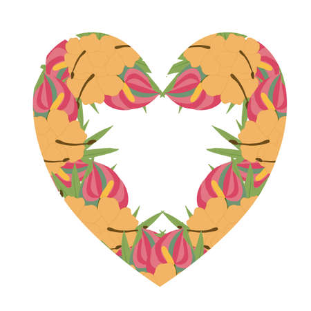 pink and orange tropical flowers in a hear shape