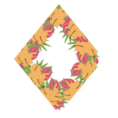 tropical wedding frame with pink and orange flowers