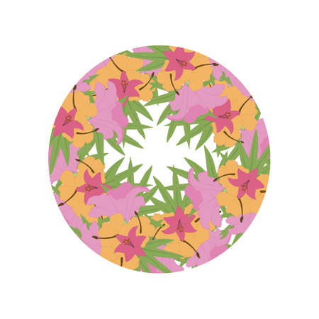 round invitation frame with beautiful flowers
