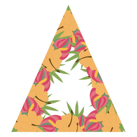triangle wedding frame with tropical flowers