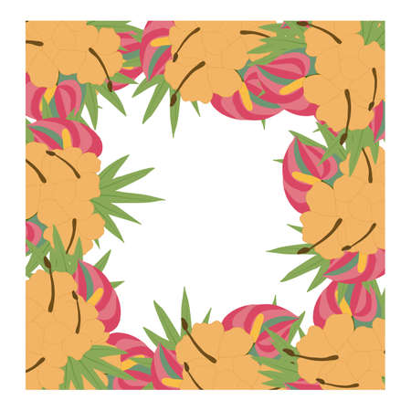 square vector frame with tropical