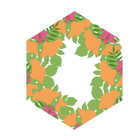 Polygonal tropical border with pink and orange flowers