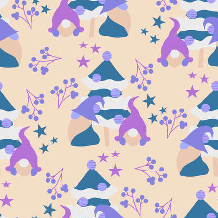 Cute vector gnomes in a Christmas decor, seamless pattern design