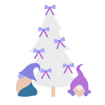 Cute vector gnomes in a Christmas decor, perfect to use on the web or in print Ilustracja