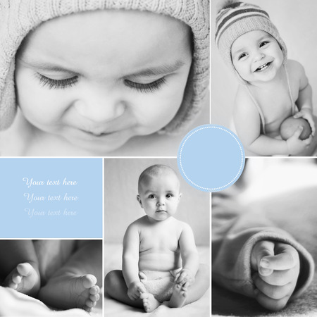 Collage of black-and-white baby s photos photo