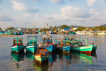 sea port: old fishing boats in the sea port on Phu Quoc, Vietnam