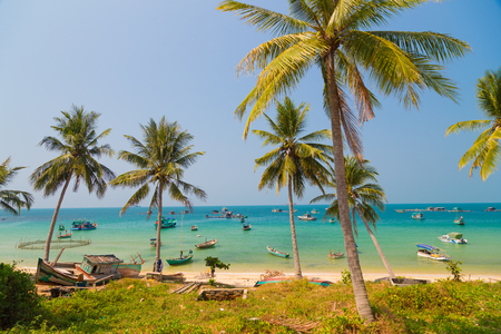 fishing village and turquoise sea on Phu Quoc, Vietnam  photo