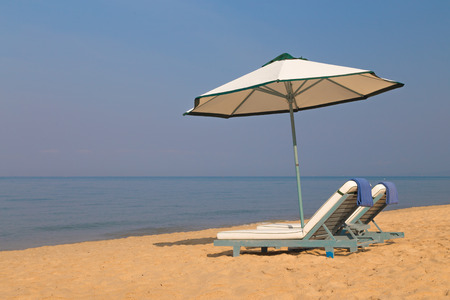 sunbeds: sunbeds beach and turquoise blue sea on Phu Quoc, Vietnam