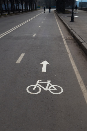 bicycle lane sign painted in white paint on gray asphalt photo