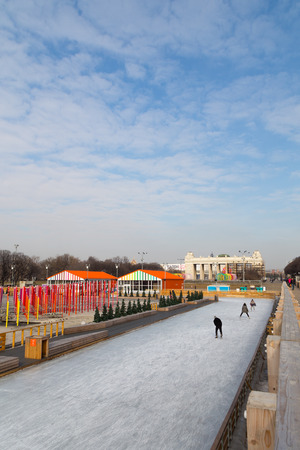 tree dweller: MOSCOW - March 2014: Ice skating rink at Gorky Park Editorial
