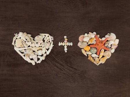 two hearts made ​​of shells and starfish and the plus sign photo