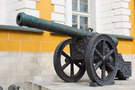 vintage cannon guns cast from copper Kremlin Moscow, Russia  photo