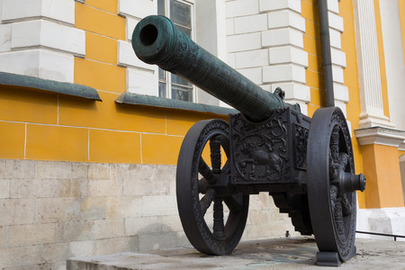 vintage cannon guns cast from copper Kremlin Moscow  photo