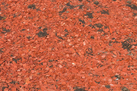 color red wooden chips for landscaping mulch  photo