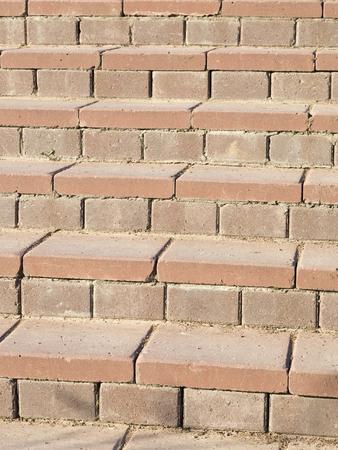 staircase of a rectangular terracotta paving tile photo