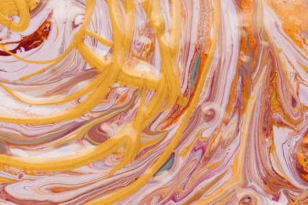 daubs: horizontal abstraction of lines and arcs colored acrylic gold pink red purple blue and white paint mixed with bubbles