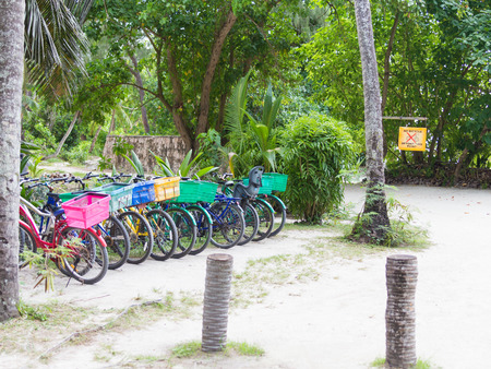 bicycle parking in a tropical park in the Seychelles on the island of La Digue photo