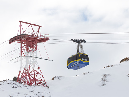 kaprun: Zell am See - Kaprun - December 6, 2014: Ski lift cab in the Alps at an altitude of 3000 m on the glacier Kitssteynhorn December 6, 2014, Zell am Cee - Kaprun, Austria Editorial
