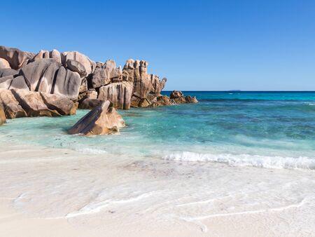 salt water: Huge rocky granite stones and clean salt water, Seychelles