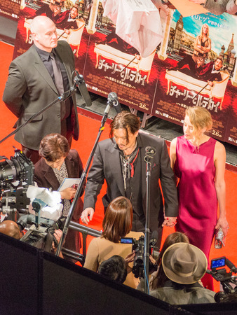 heard: Tokyo - January 27, 2015: Actor Johnny Depp and Amber Heard give interviews to the presentation of the film Mordecai and many journalists around January 27, 2015, Tokyo, Japan