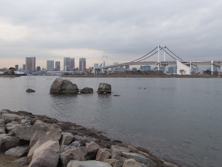 large rocks: Tokyo - February 7, 2015: Beautiful Rainbow Bridge and large rocks with seagulls on cloudy days February 7, 2015, Tokyo, Japan Editorial