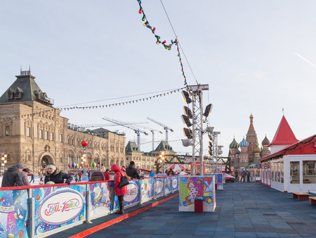 seating area: Moscow - January 16, 2015: A large seating area at the city rink on Red Square January 16, 2015, Moscow, Russia