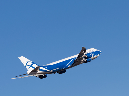 boing: Sheremetyevo Airport -14 March 2015: Boing 747-8F aircraft, AirBridgeCargo Airlines takes off into the sky March 14, 2015, Sheremetyevo Airport, Moscow Region, Russia