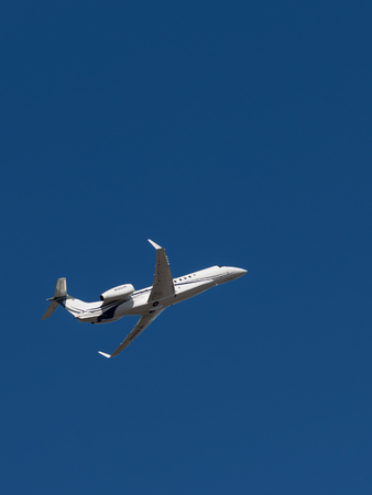 legacy: Sheremetyevo - March 14, 2015: Beautiful Airplane Legacy 600, Embraer, takes off at Sheremetyevo Airport on a background of bright blue sky March 14, 2015, Sheremetyevo, Moscow Region, Russia