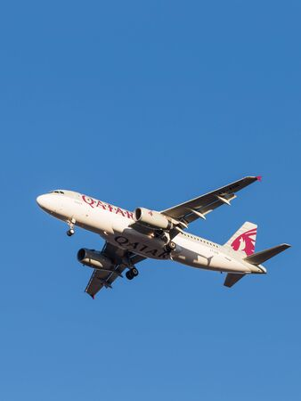 march 17: Domodedovo - March 17, 2015: Beautiful passenger aircraft Airbus A320, the airline Qatar Airways, landing at Domodedovo airport March 17, 2015, Domodedovo, Moscow Region, Russia