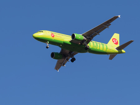march 17: Domodedovo - March 17, 2015: Beautiful passenger aircraft Airbus A320, Sibir S7 Airlines landing at Domodedovo airport March 17, 2015, Domodedovo, Moscow Region, Russia