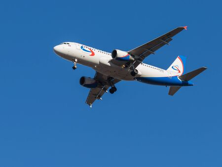 march 17: Domodedovo - March 17, 2015: Beautiful passenger aircraft Airbus A320, airlines Ural Airlines landing at Domodedovo airport March 17, 2015, Domodedovo, Moscow Region, Russia