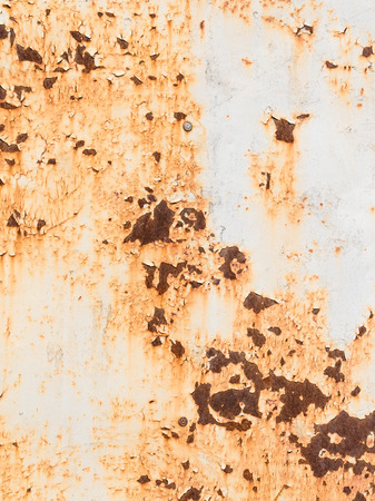 precipitation: texture of old rusty painted metal sheet inside out, corrupt influence of precipitation Stock Photo